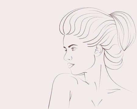Outline portrait of beautiful woman with bun hairstyle. Vector illustration 일러스트