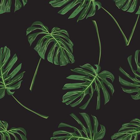 Monstera Tropical leaves seamless pattern on black background. Vector illustration 일러스트