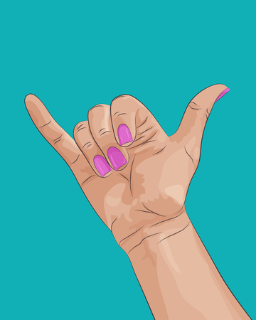 Shaka surf hand sign. Woman's hand with pink fingernails on blue background. Vector illustration