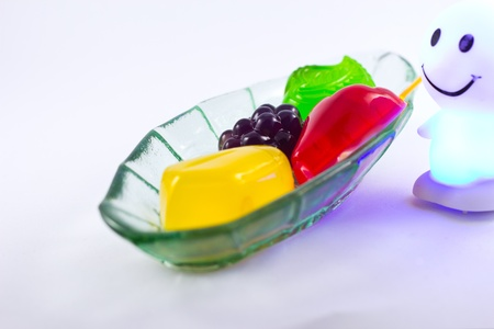 Thai dessert fruit gelatine on white background photo
