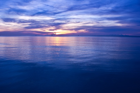 beautiful sunset blue sea . blue sky photo