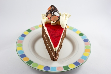 cheesecake strawberry slice on dish and whipped topping  chocolate ganache over white  photo