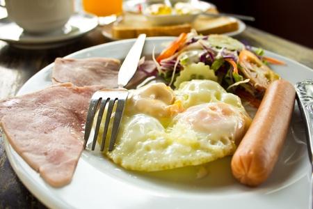 Breakfast - toasts, eggs, bacon photo