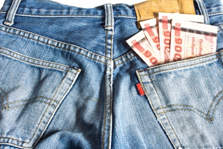 Money in your Pocket jeans Stock Photo