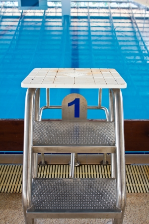 one lane: Starting platforms with numbers for swimming races