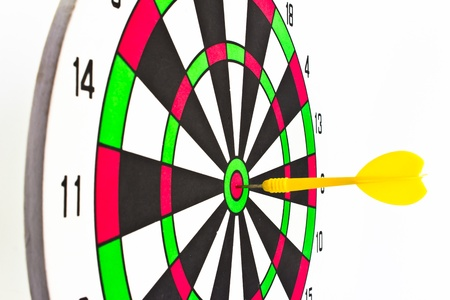 tercet: Colorful darts at a target  Red dart hit the aim  Stock Photo