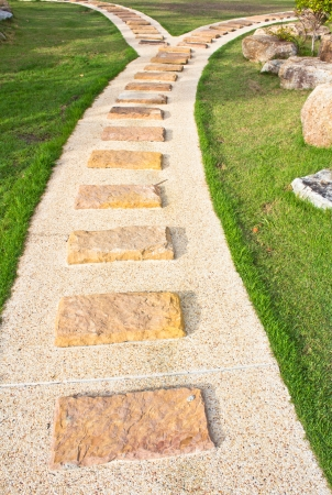 Stone walkway in the park photo