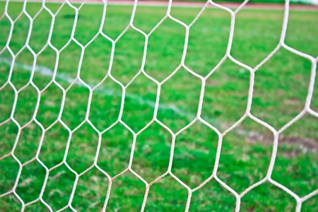 camping pitch: Soccer goal net Stock Photo