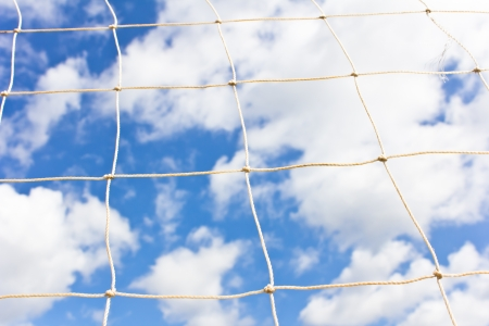 Soccer goal net on  blue sky Stock Photo