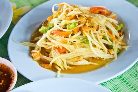 spicy papaya salad,Thai food photo