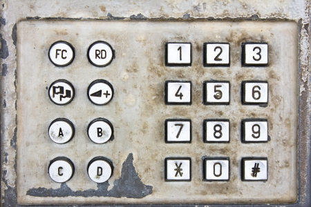 Old metal numeric keyboard Stock Photo