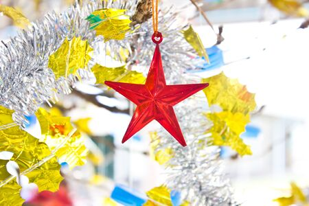 Merry Christmas and Happy New Year,Red Star Stock Photo - 16959811