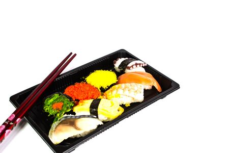 Sushi set on white background photo