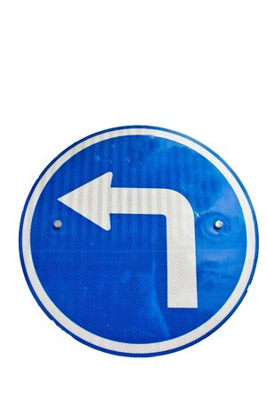 fork in path: Turn left blue road sign isolated on white background
