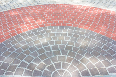 Details of circle design stone floor tiles photo