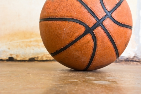 Basketball over floor  Close up  photo