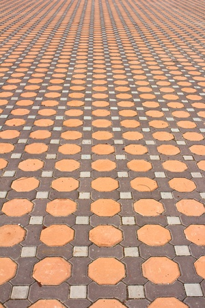 Details of  design stone floor tiles in the park photo