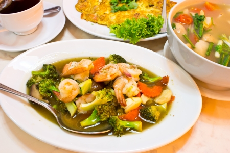 Thai food, Stir-fried vegetables with seafood Stock Photo - 20170304