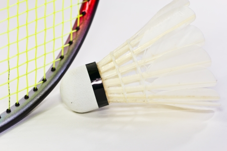 Badminton rackets and shuttlecock isolated photo