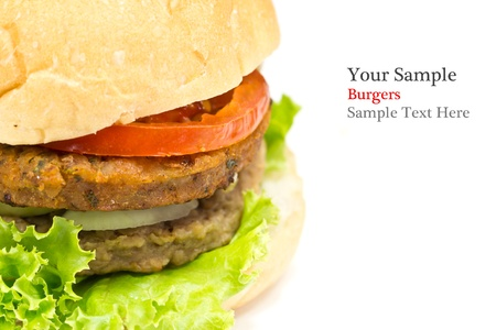 big hamburger isolated on white background  sample text  photo