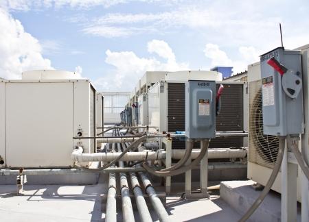Unidade exterior de ar condicionado Compressor Banco de Imagens