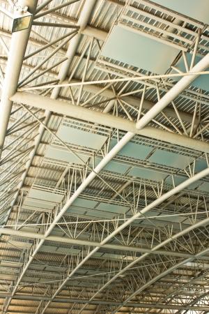 Detalhe da estrutura de um telhado de est Banco de Imagens