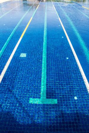 Lane ropes in  swimming pool Stock Photo