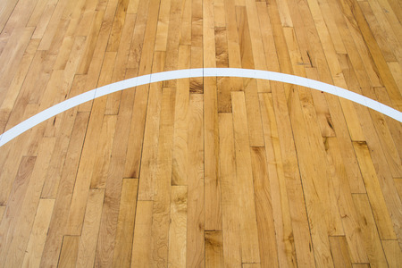 line on wooden floor basketball court photo