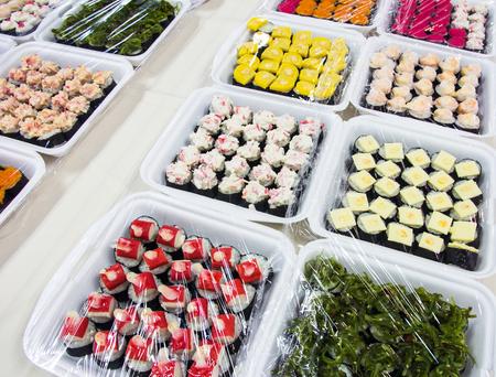 Colagem Comida japonesa, sushi Banco de Imagens