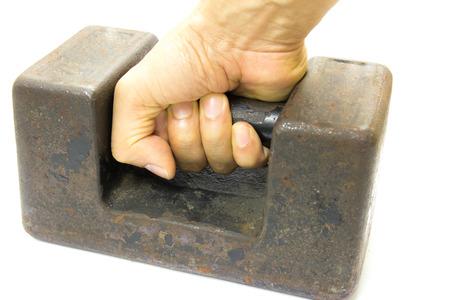 etalonnage: Ancien poids de calibrage de dix joint kilogramme, isol� sur fond blanc