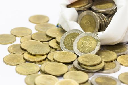 oude munten: Linnen tas van oude munten