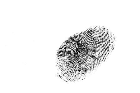 crime scene: fingerprint isolated on white Stock Photo