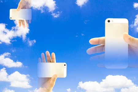 smart phones on blue sky background