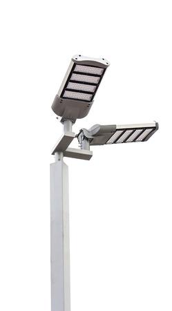 흰색 배경에 LED 가로등 포스트