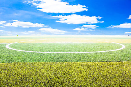 soccer field with blue sky photo