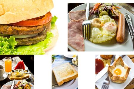 pile of toast for breakfast ,big hamburger photo