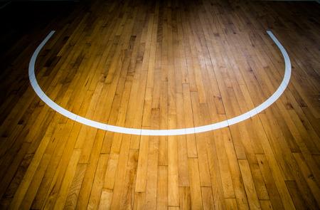playground basketball: wooden floor basketball court Stock Photo