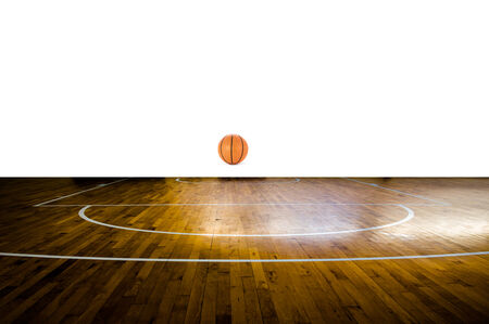 Basketball court with ball over white background photo