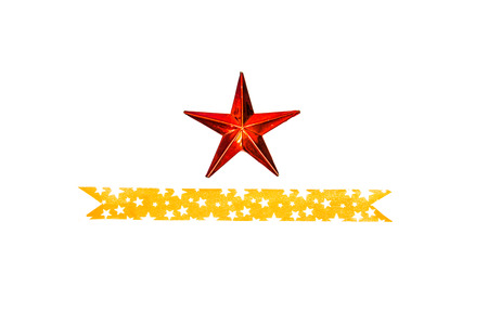 Abstract red star with ribbon Christmas decoration photo