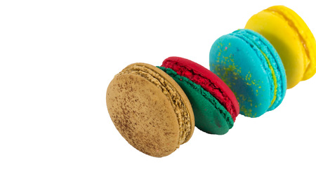 traditional french macaron on white background