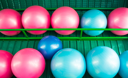 regimen: yoga balls at the gym Stock Photo
