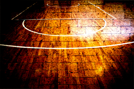 basketball court with red brick wall texture background Stock Photo