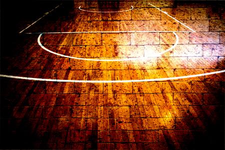 Basketballplatz mit roten Backsteinmauer Textur Hintergrund