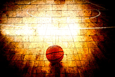basketball court with red brick wall texture background Banco de Imagens