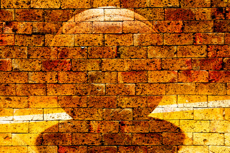 basketball with red brick wall texture background