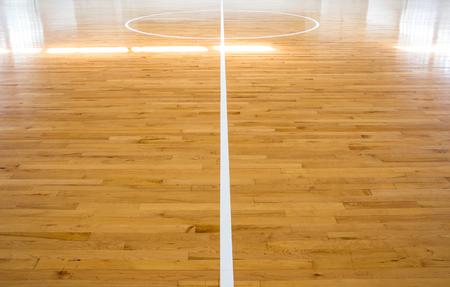 wooden floor basketball court Stock Photo
