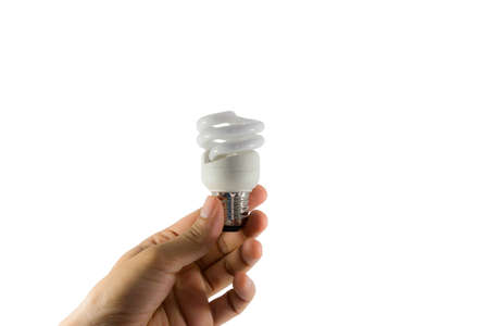electric bulb: Electric bulb in hand on a white background