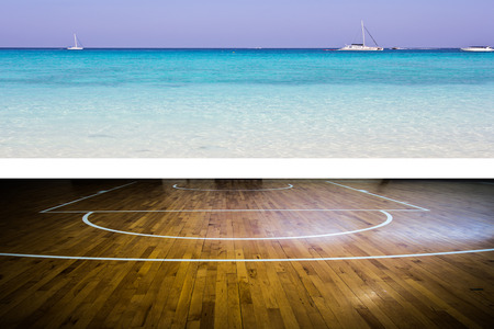 playground basketball: Basketball court with view of the sea Stock Photo