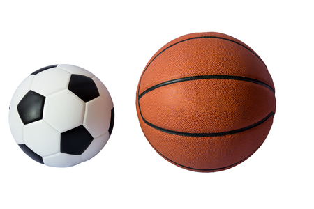 dribbling: Basketball and soccer  ball isolated on white background