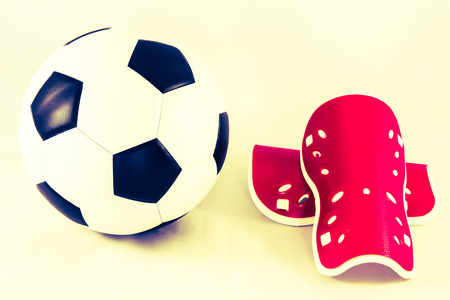 shin: soccer ball and shin guard  vintage style